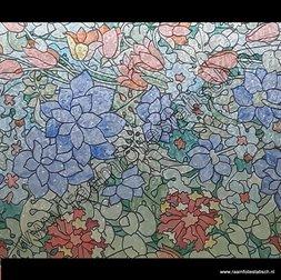 128. Raamfolie bloementuin kleur (plakfolie voor ramen)