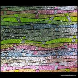 24. Statische raamfolie gekleurde golven