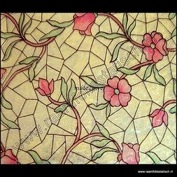 65. Raamfolie glas in lood bloemen (plakfolie voor ramen)