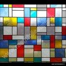 breed raamfolie kleuren mondriaan 90cm