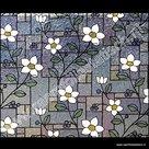 statische raamfolie bloemen glas in lood 92cm
