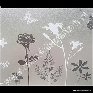 Statische raamfolie met bloemen en vlinders for Plakfolie decoratie