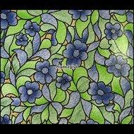 Raamfolie-bloem-glas-in-lood-blauw-groen