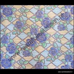 127. Raamfolie glas in lood blauwe rozen (plakfolie voor ramen)