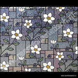 8. Statische raamfolie glas in lood bloemetjes