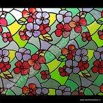 Statische raamfolie Bloemen rood 90cmx1,5m