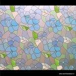 Statische raamfolie Bloemen blauw 45cmx1,5m