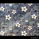 statische raamfolie bloemen glas in lood 70cm x 2meter