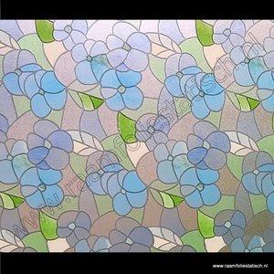 Statische raamfolie Bloemen blauw 90cmx1,5m