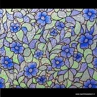 Raamfolie bloem blauw 45cm